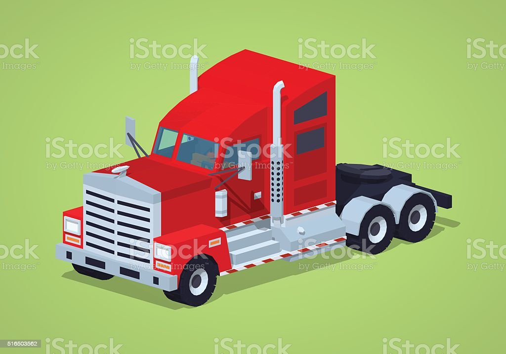 Low poly red heavy american truck vector art illustration