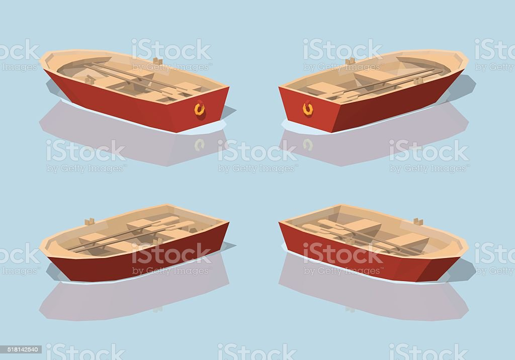 Low poly red punt boat vector art illustration