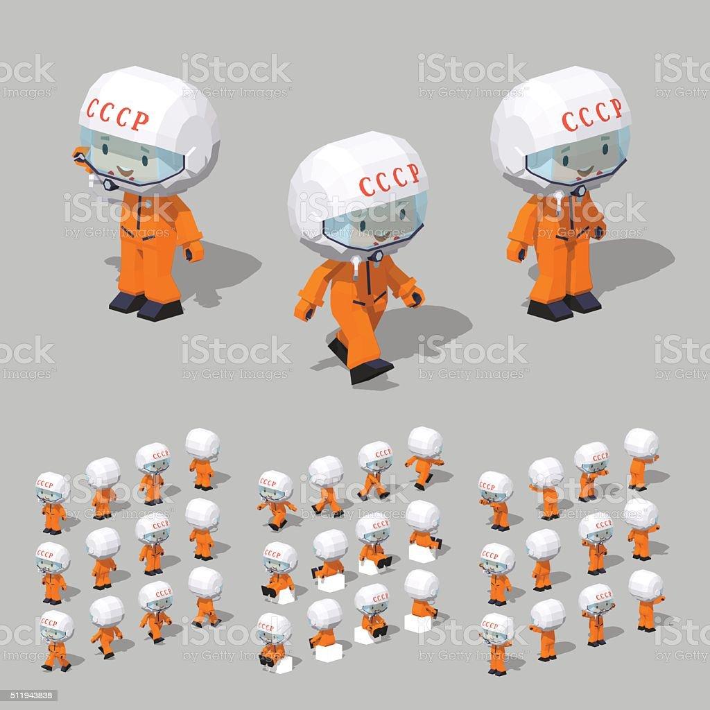 Low poly soviet cosmonaut vector art illustration