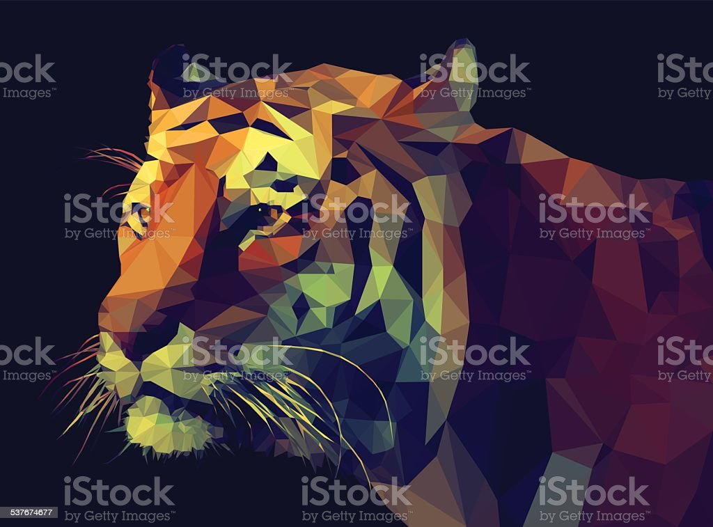 Low Poly- Style Tiger Illustration. vector art illustration