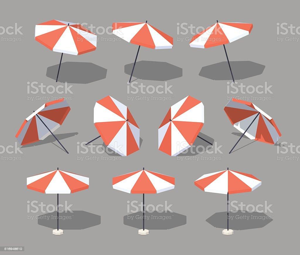 Low poly sun umbrella vector art illustration