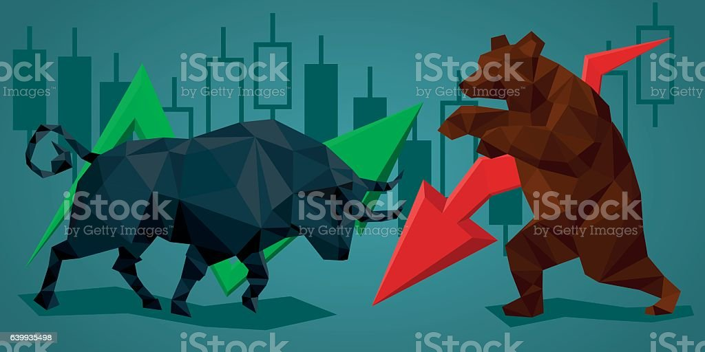 Low poly trade bull and bear. vector art illustration