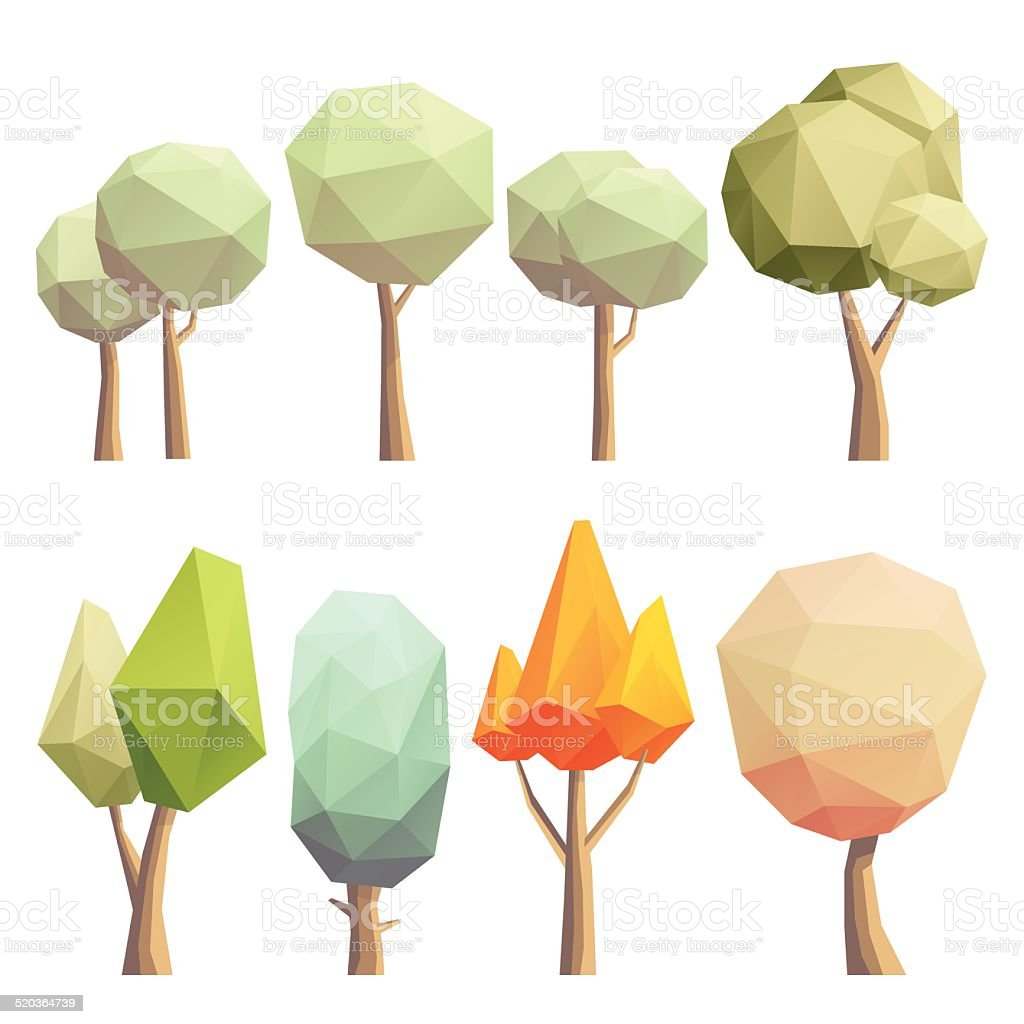 Low poly trees vector art illustration