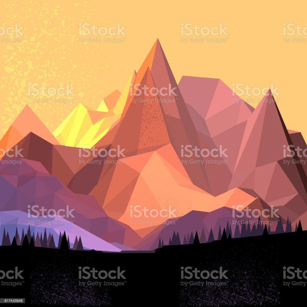 Low Poly Vector Mountain vector art illustration