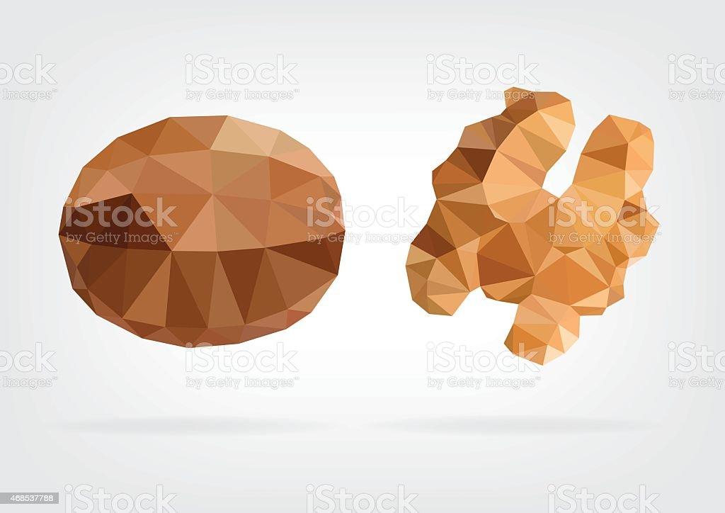 Low Poly Wallnut vector art illustration