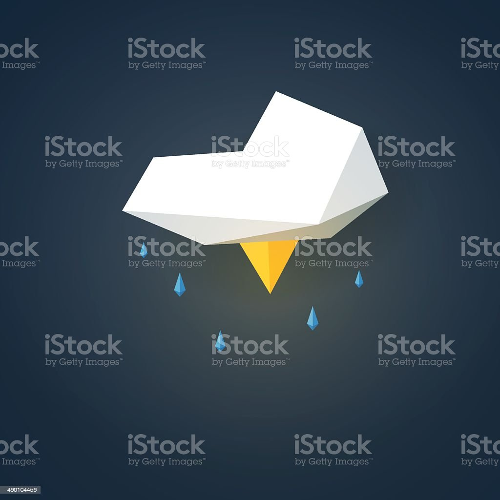 Low poly weather icon. Forecast symbol in modern 3d design vector art illustration