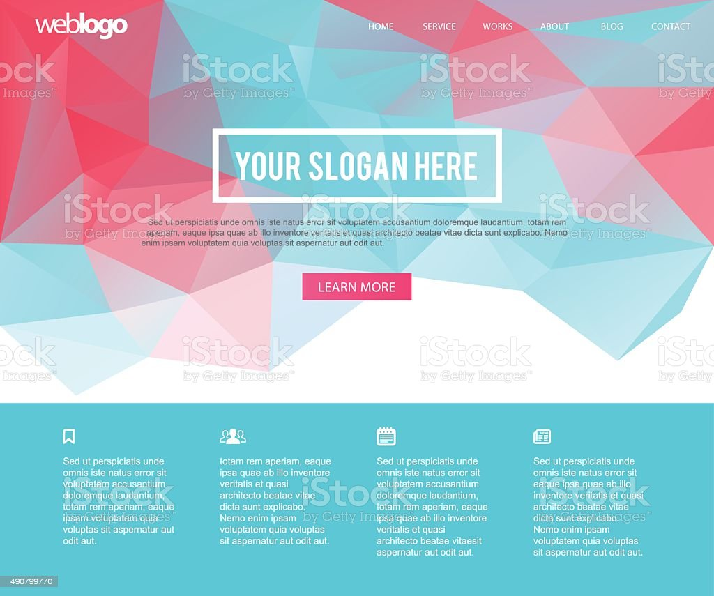 Low poly Webpage design vector art illustration