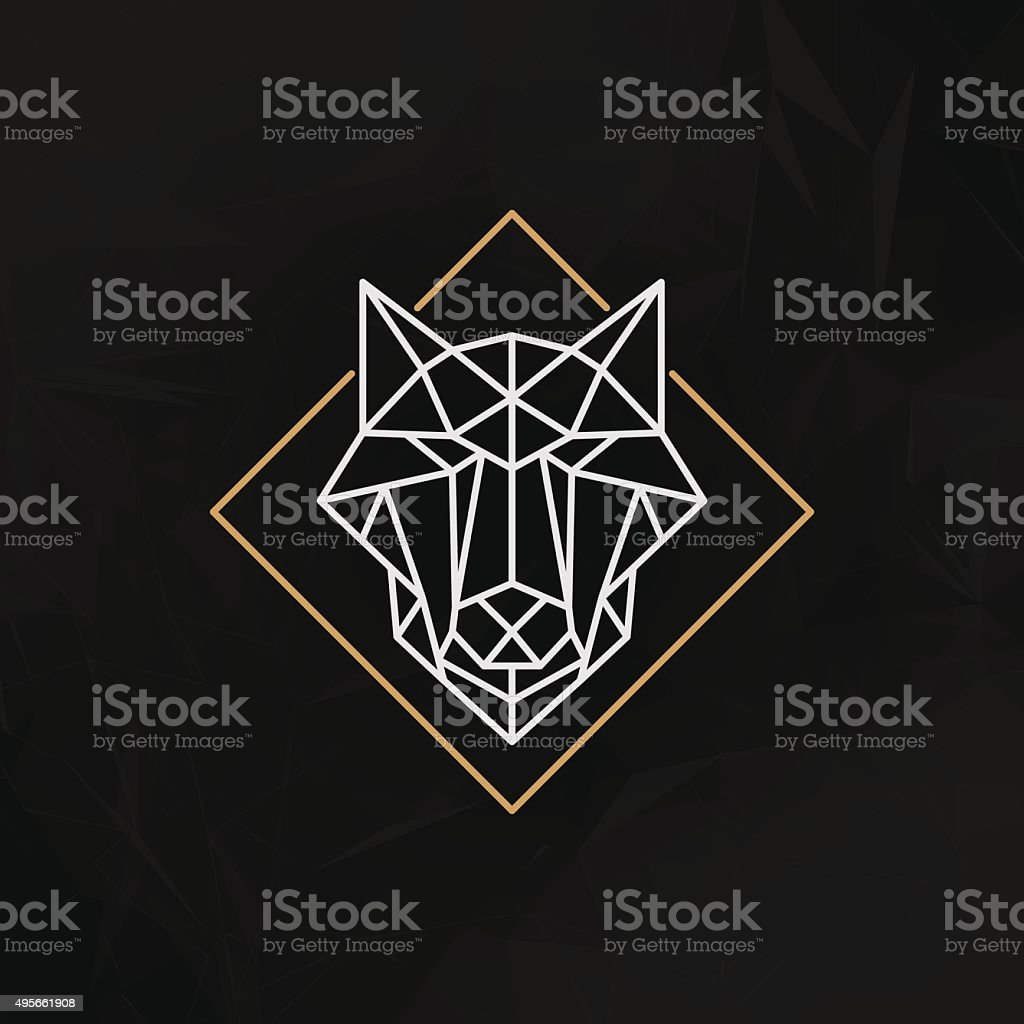 Low poly wolf head vector art illustration