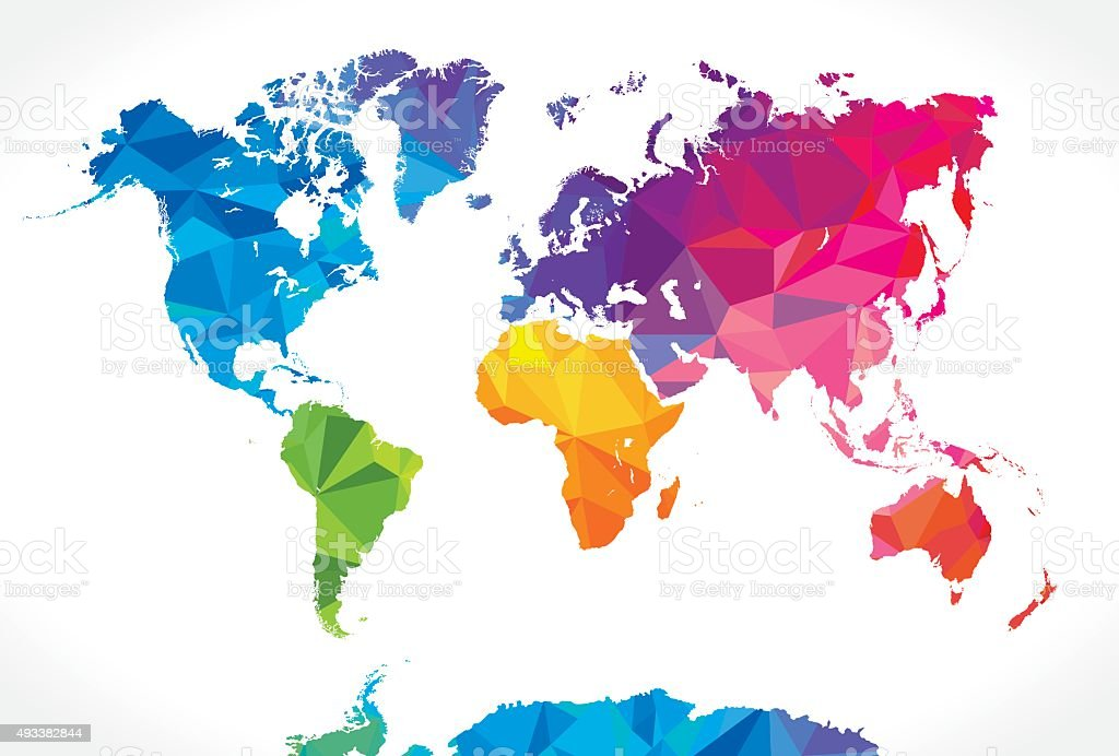 Low poly world map vector art illustration