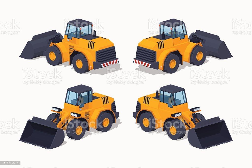 Low poly yellow heavy bulldozer vector art illustration