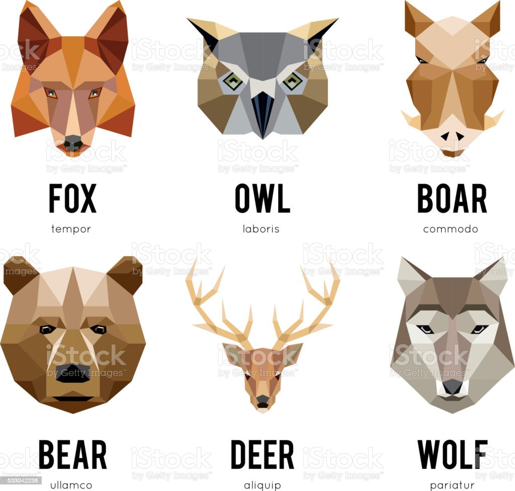 Low polygon animal logos. Triangular geometric animals logo set vector art illustration