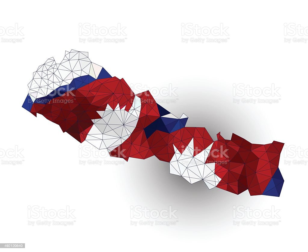 Low Polygon Nepal Map on a waving flag vector art illustration