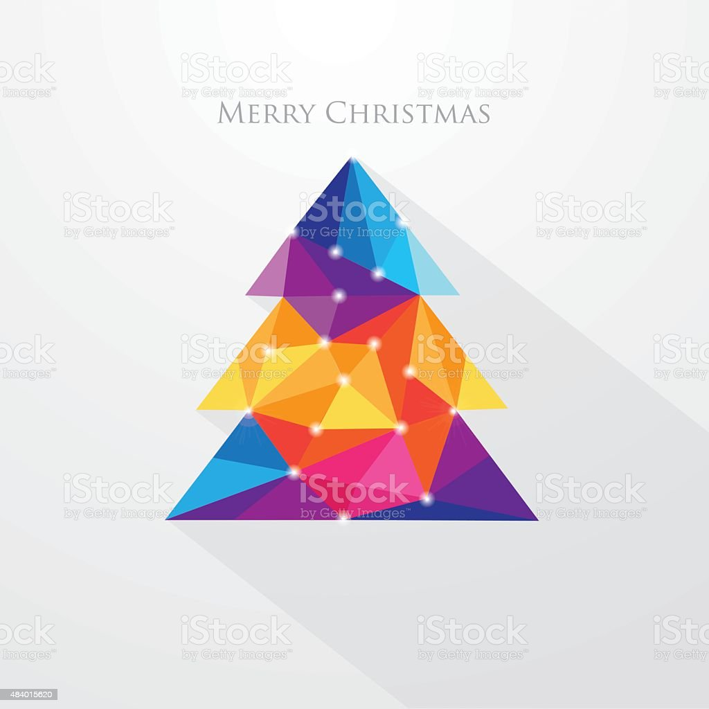 Low polygon style multicolored christmas tree greeting card vector art illustration