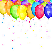 Low polygonal balloons and confetti