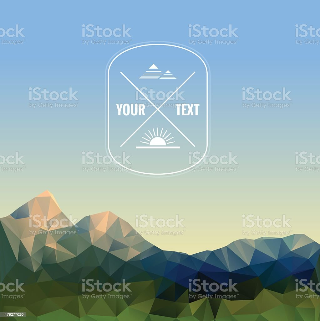 Low polygonal mountains vector art illustration