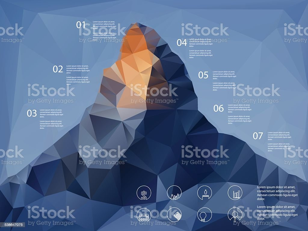 Low polygonal shape mountain background. Line icons for business presentation vector art illustration