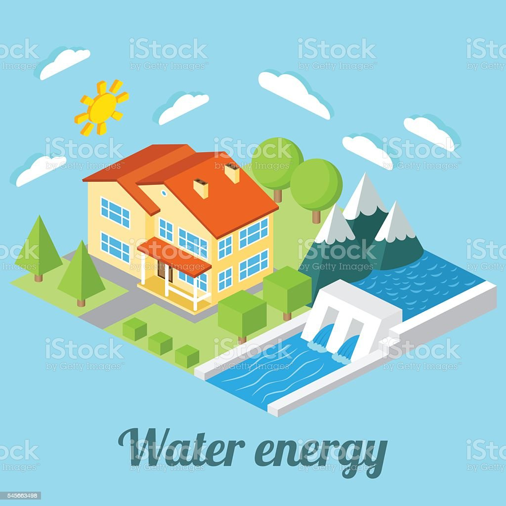 Low-energy house with Hydro power plant. vector art illustration