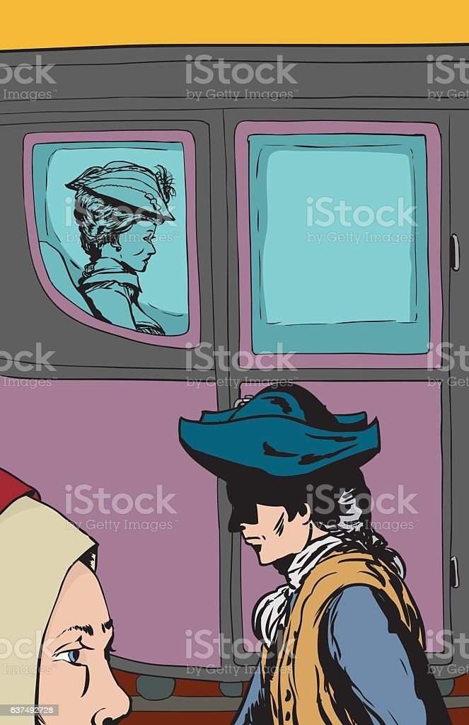 Lower class people walking past rich woman in carriage vector art illustration