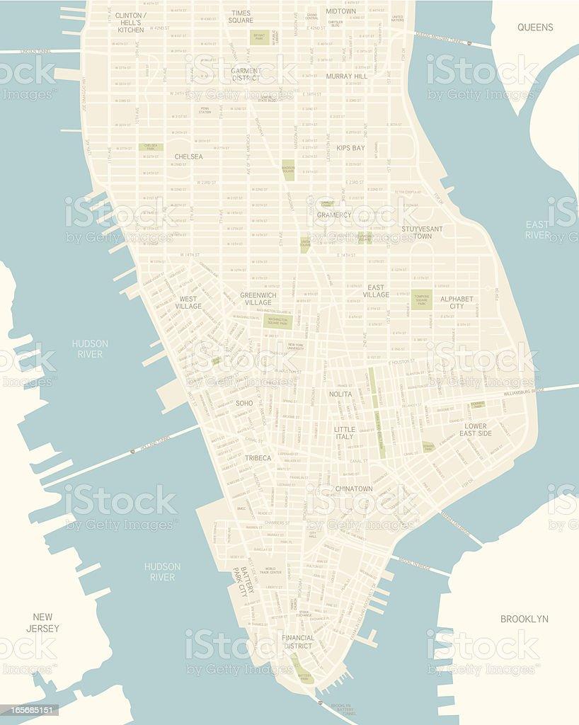 Lower Manhattan Map vector art illustration