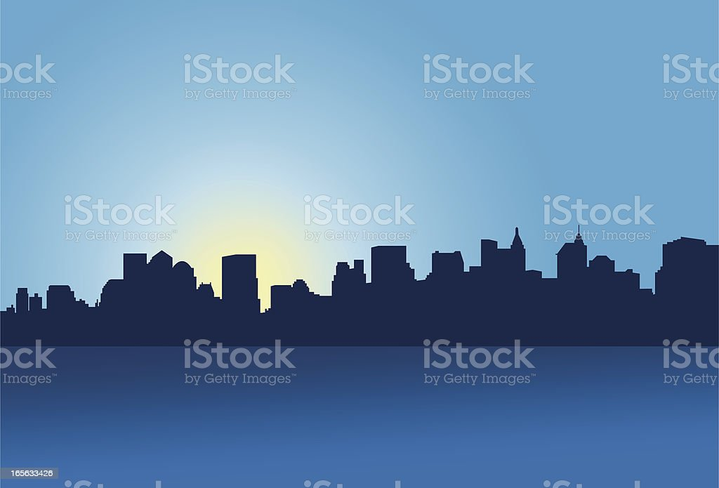 Lower Manhattan Skyline vector art illustration