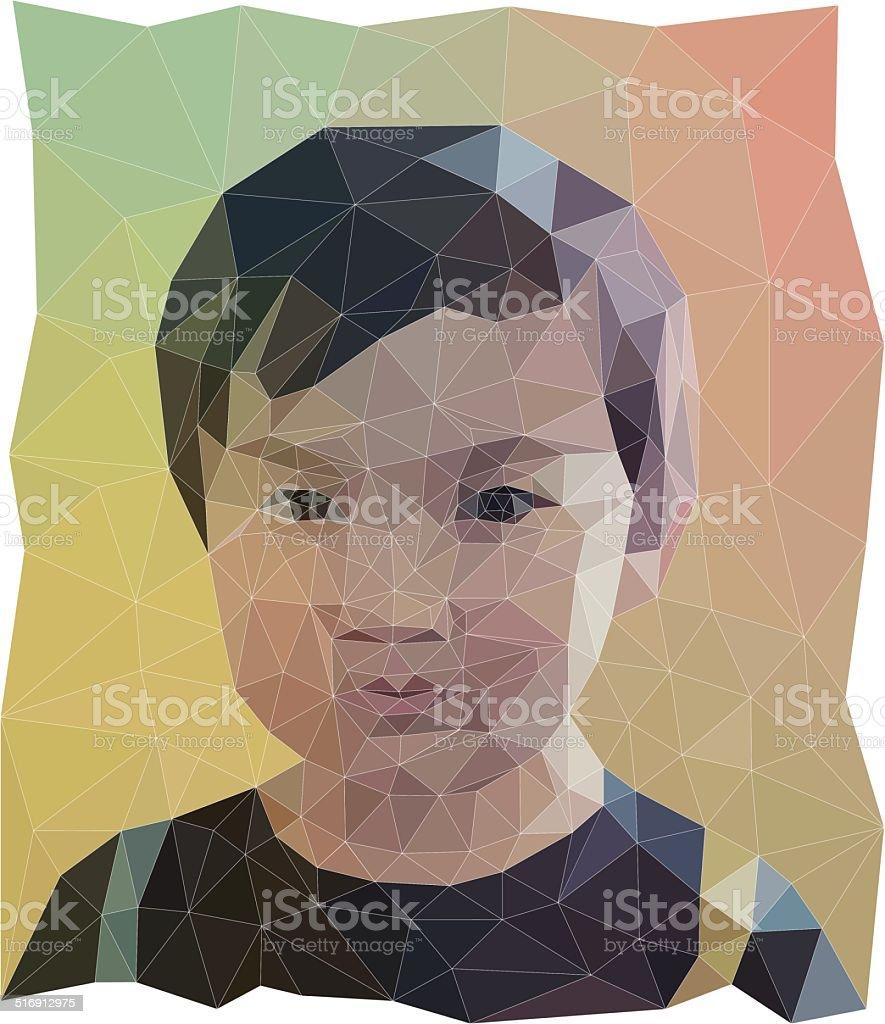Low-Poly Asian American Boy Portrait Vector vector art illustration