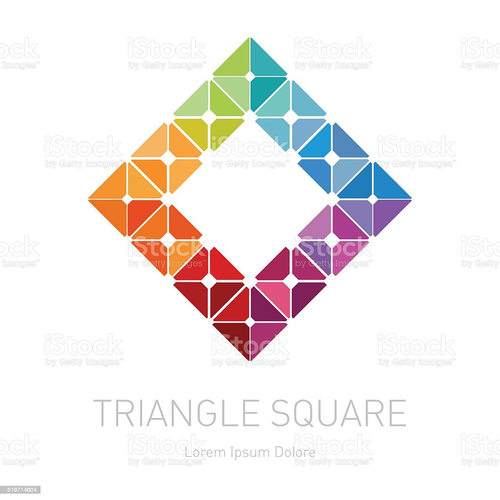 Low-poly mesh. Modern stylish logo. Design element with squares, vector art illustration