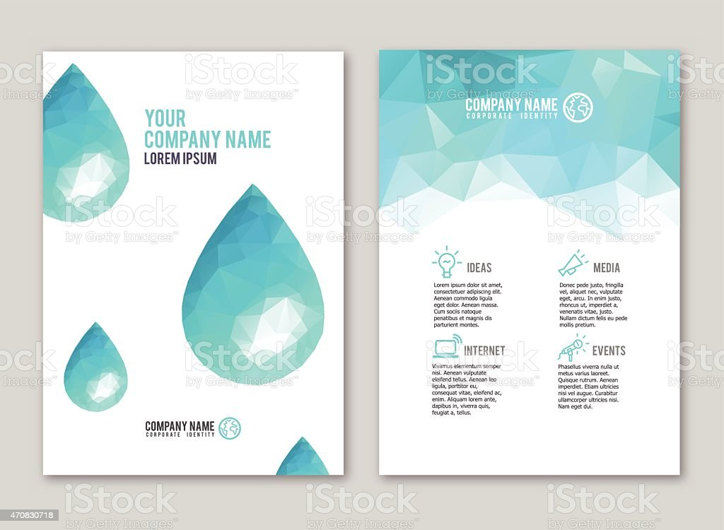 Lowpoly water drop design for print vector art illustration