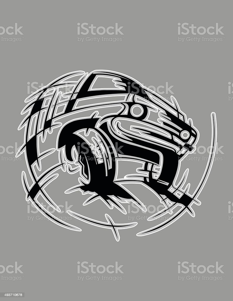 Lowrider car vector art illustration
