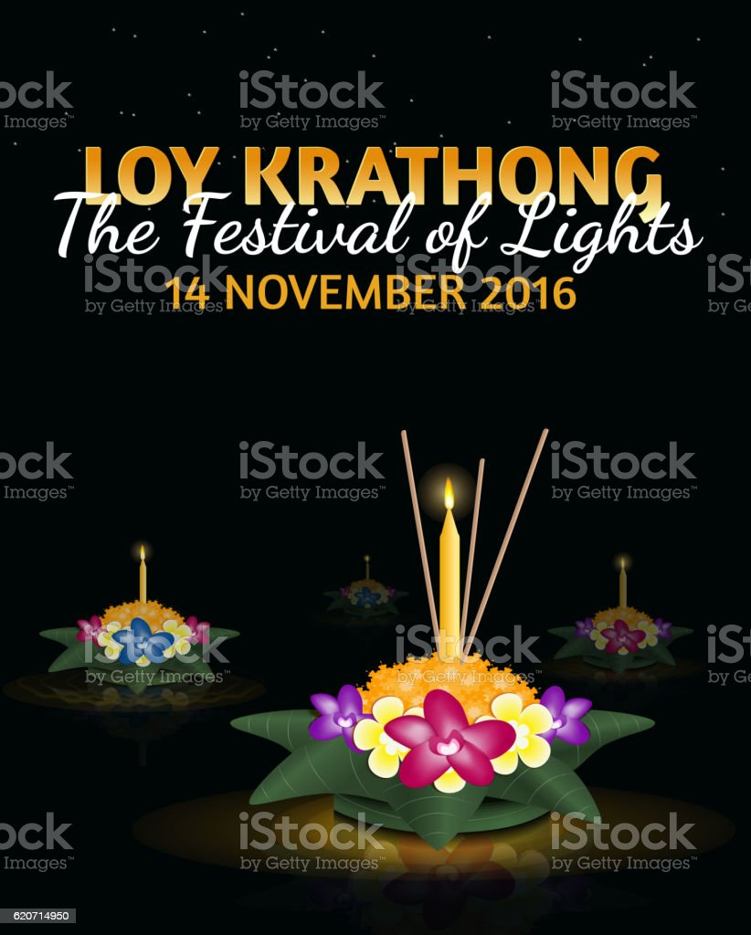 Loy Krathong greeting card with floating krathongs, thai holiday vector art illustration