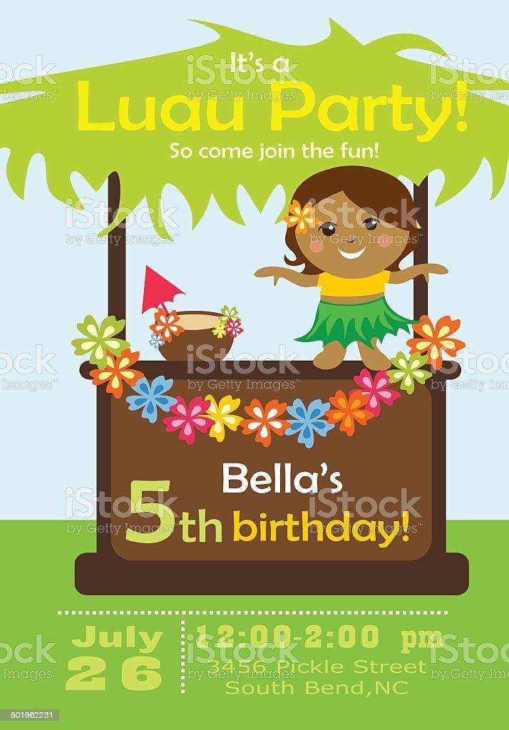 Luau Party Invitation vector art illustration