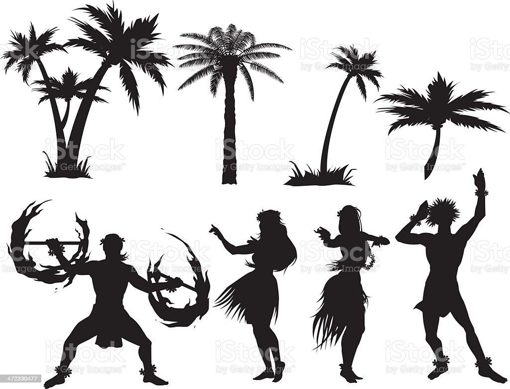 Luau silhouettes vector art illustration