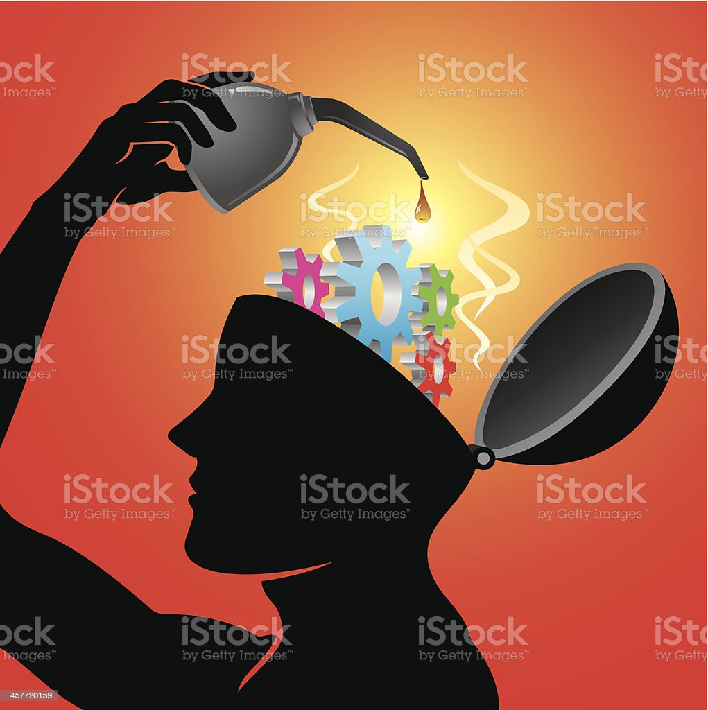 Lubricating Worn Out Mind vector art illustration