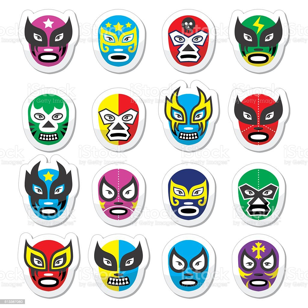 Lucha libre, luchador mexican wrestling masks icons vector art illustration
