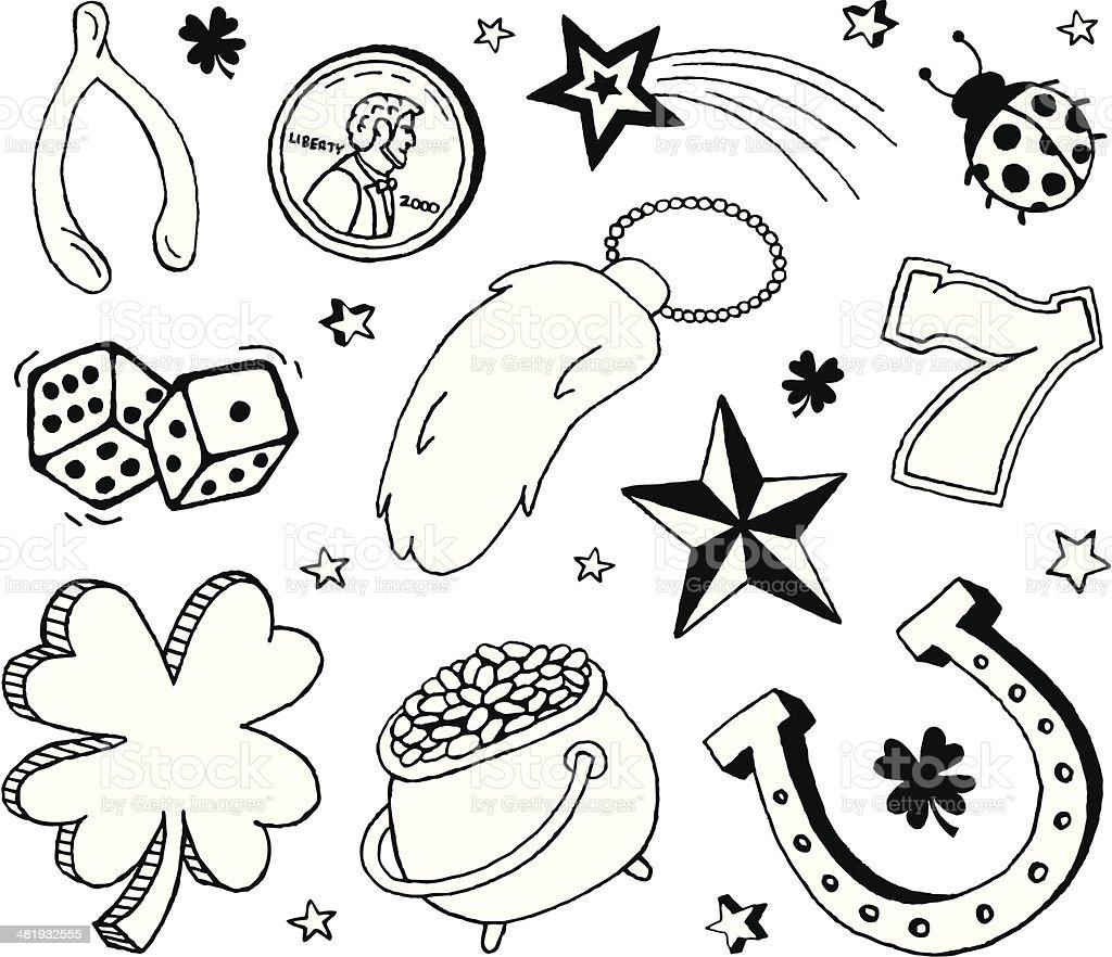Luck Doodles vector art illustration