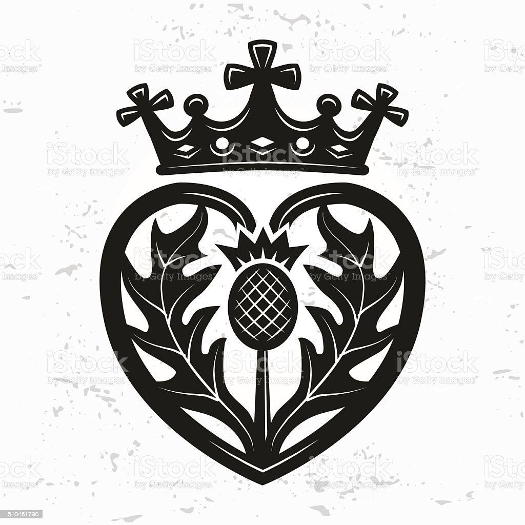 Luckenbooth brooch vector. Scottish wedding heart crown. Valentine day illustration vector art illustration