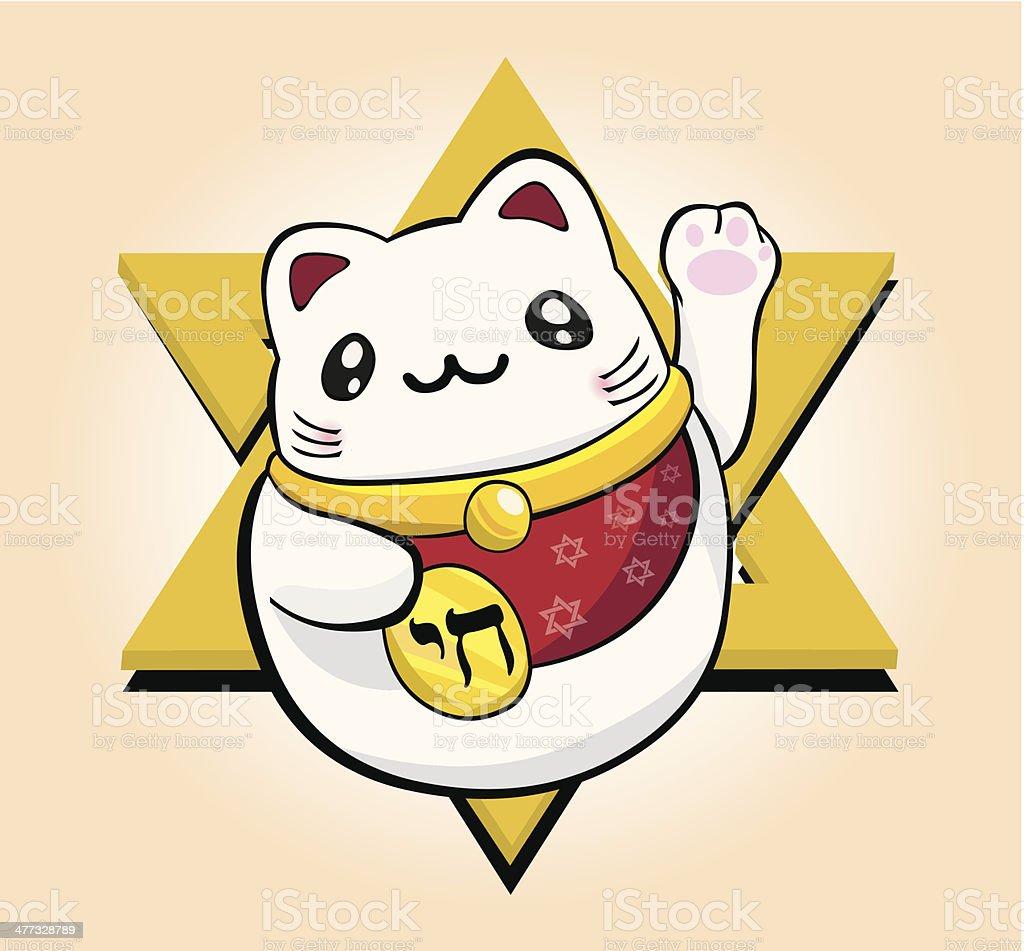 Lucky Cat Fortune (Hebrew) vector art illustration