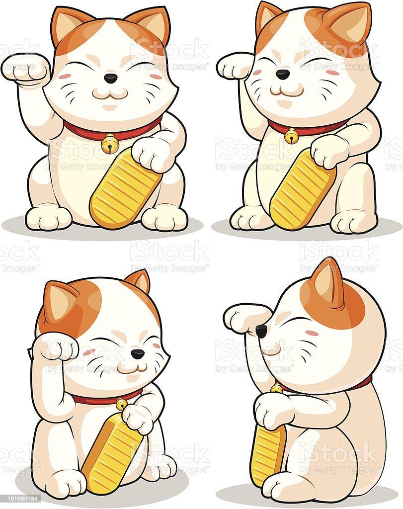 Lucky Cat (Makeni Neko) from Several Positions royalty-free stock vector art