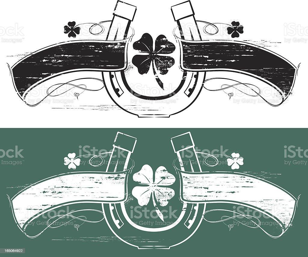 Lucky clover horseshoe banner vector art illustration