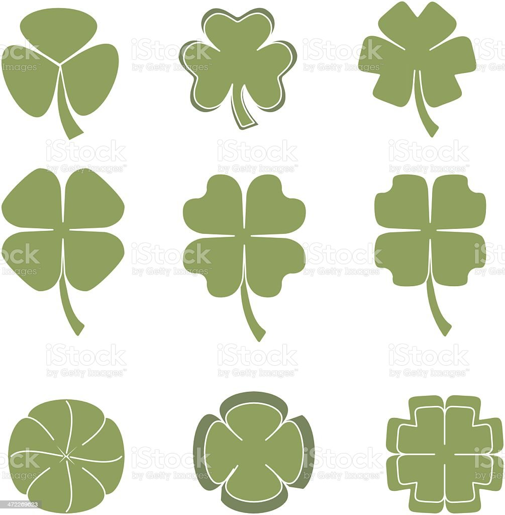 lucky clovers vector art illustration