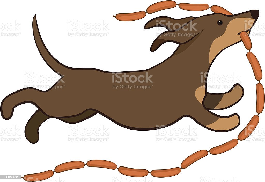 lucky dog with sausages vector art illustration