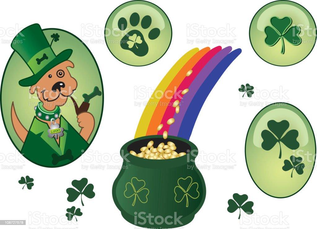 Lucky Irish Dog royalty-free stock vector art