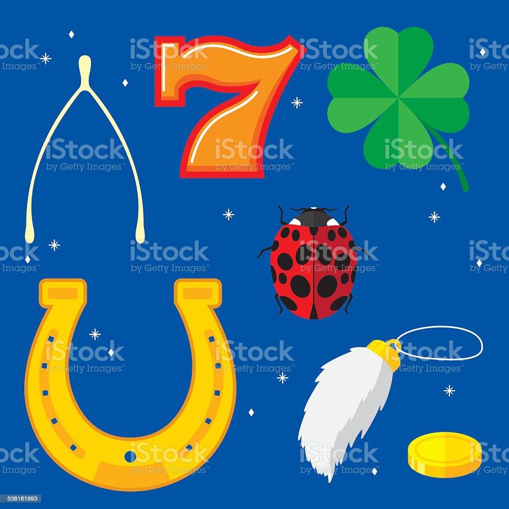 Lucky Items Flat vector art illustration
