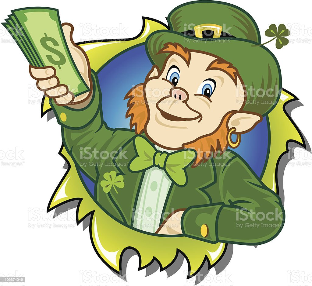 Lucky Leprechaun Bustin' Out Savings royalty-free stock vector art