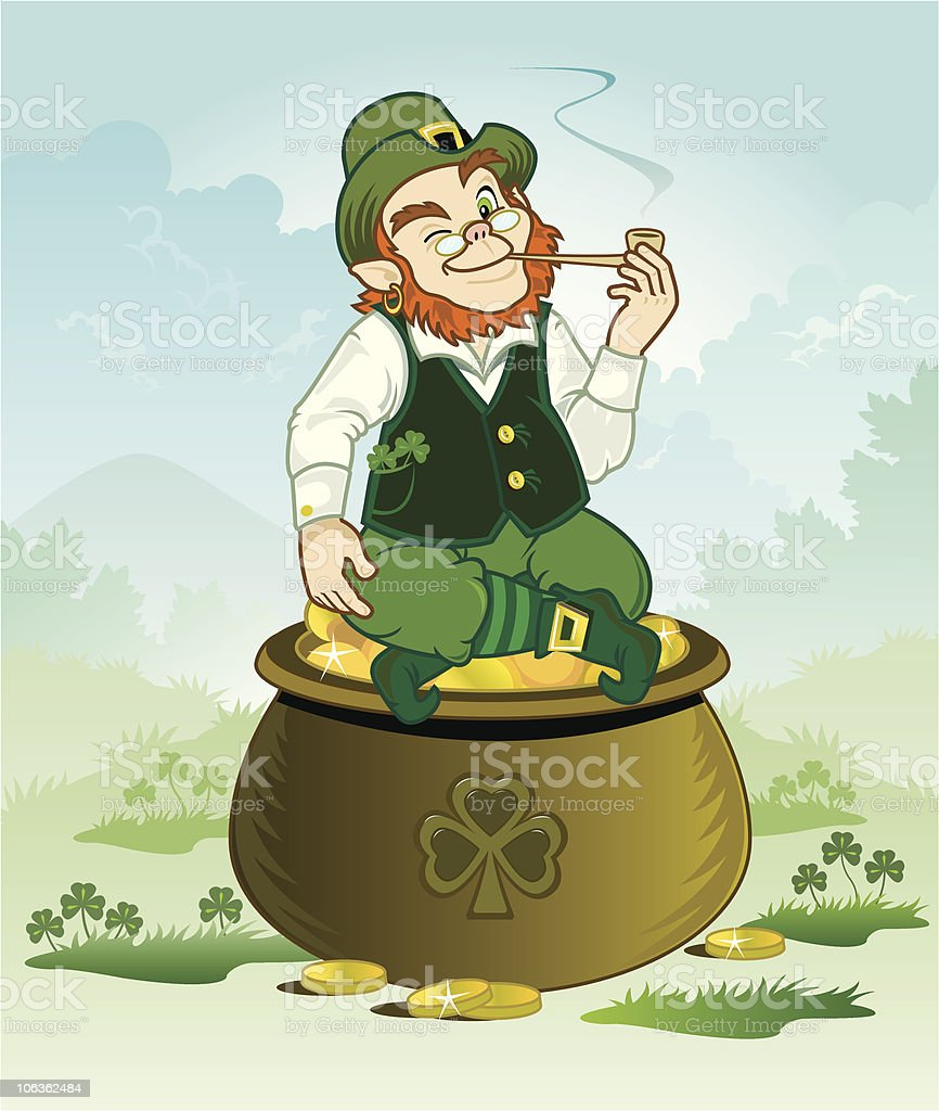 Lucky Leprechaun Sitting On His Pot Of Gold royalty-free stock vector art