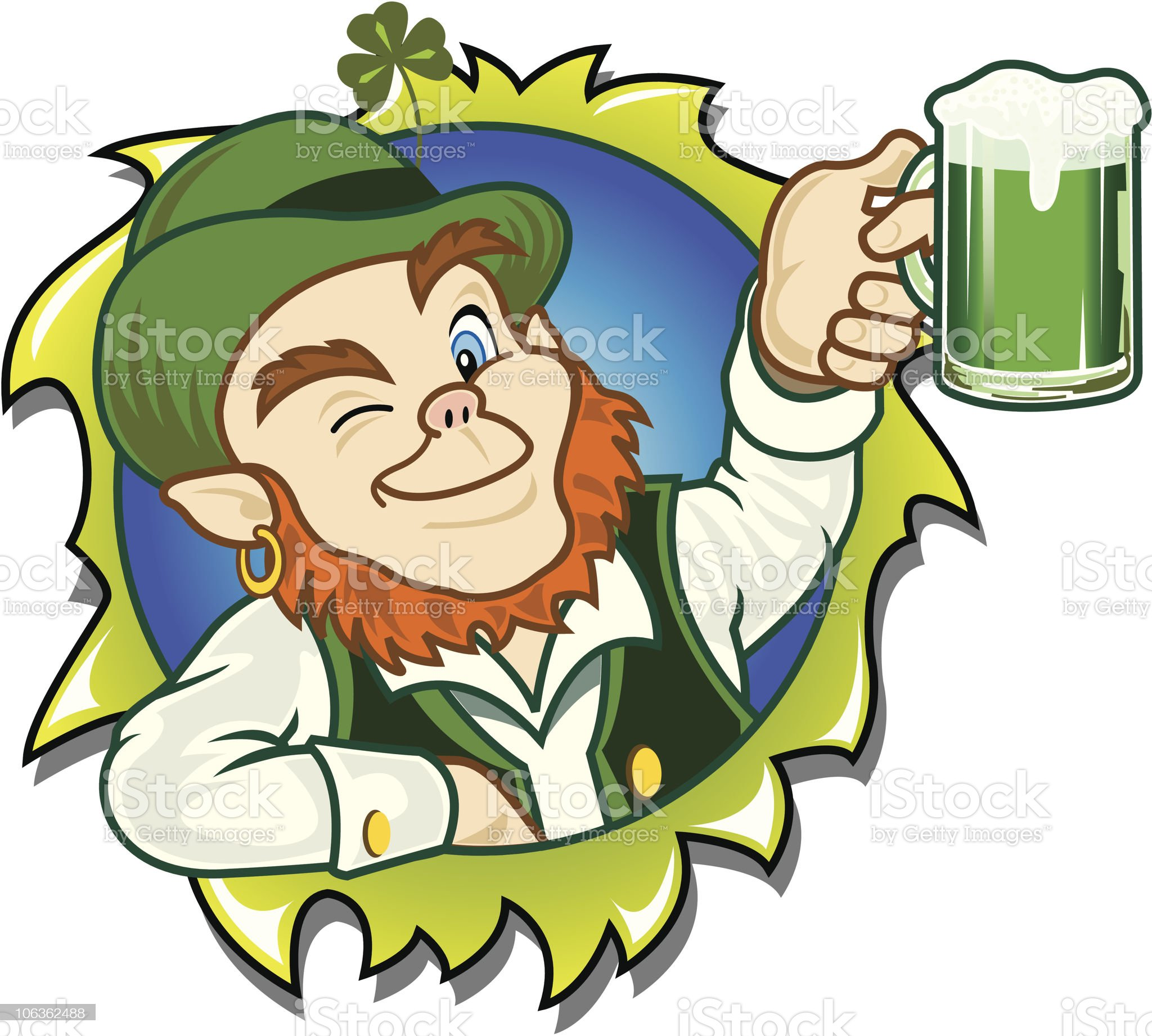 Lucky Leprechaun's Toast To You royalty-free stock vector art