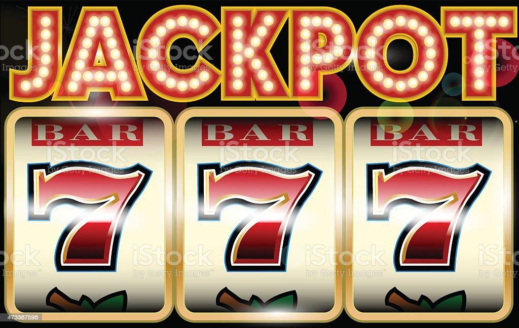 Lucky seven jackpot vector art illustration
