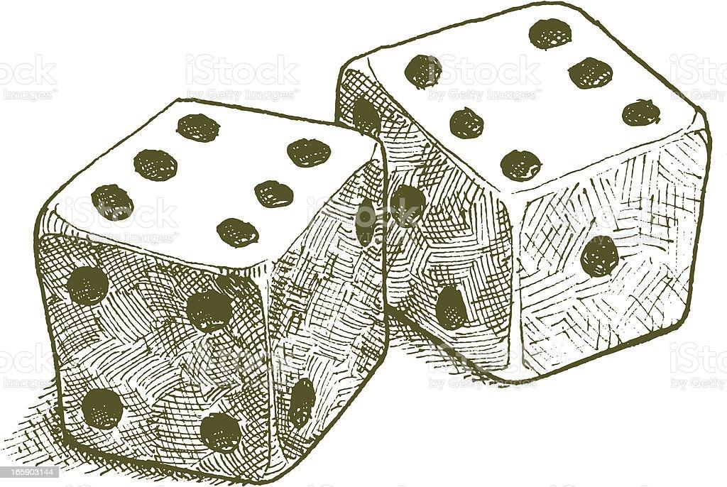 Lucky Throw - Pair of Dice vector art illustration
