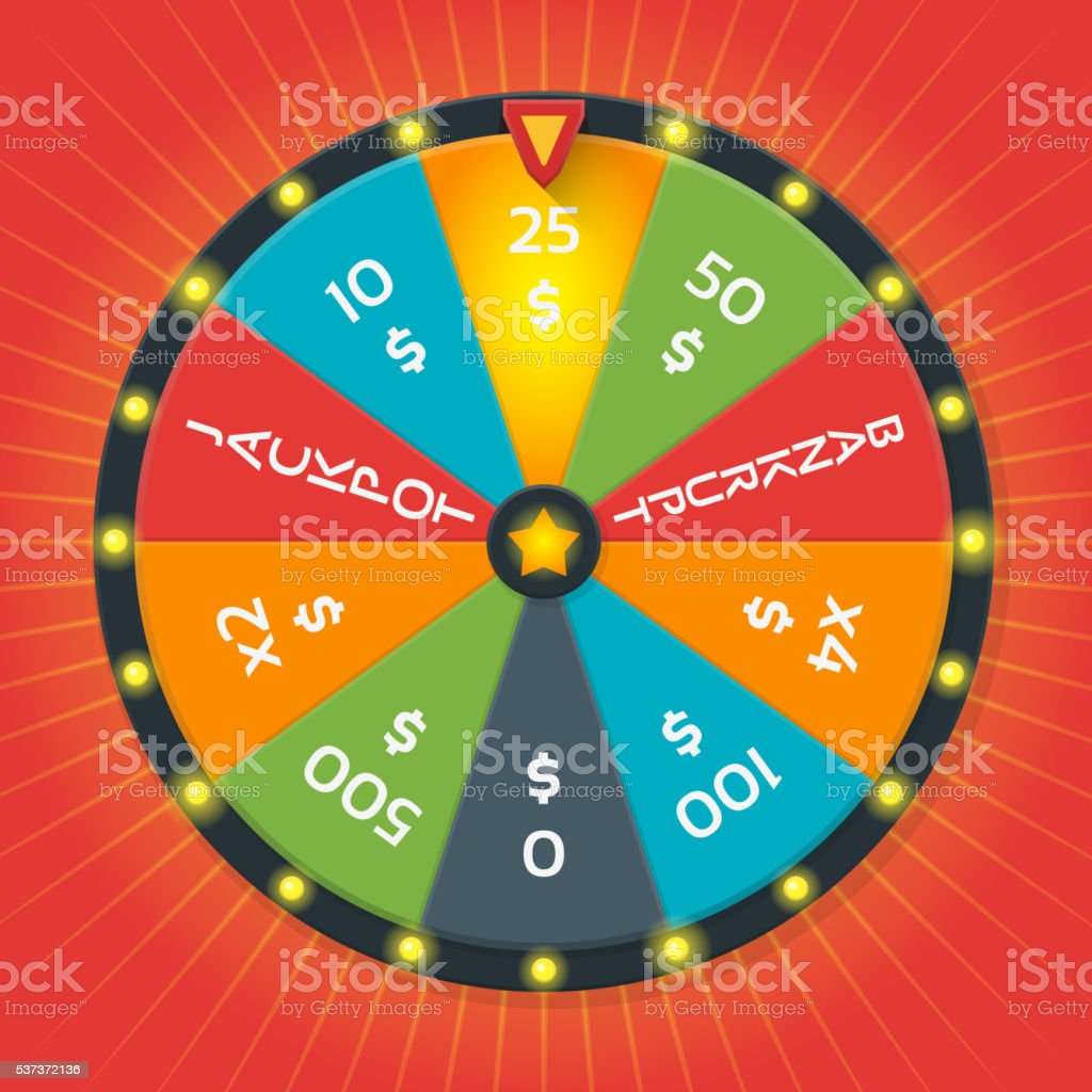 Lucky wheel vector template. Color with money amount vector art illustration