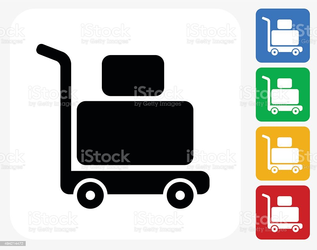 Luggage Cart Icon Flat Graphic Design vector art illustration
