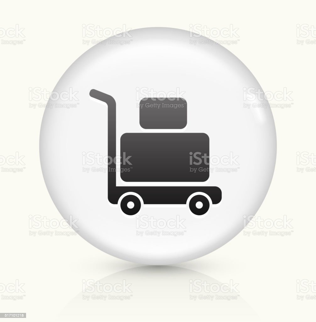 Luggage Cart icon on white round vector button vector art illustration